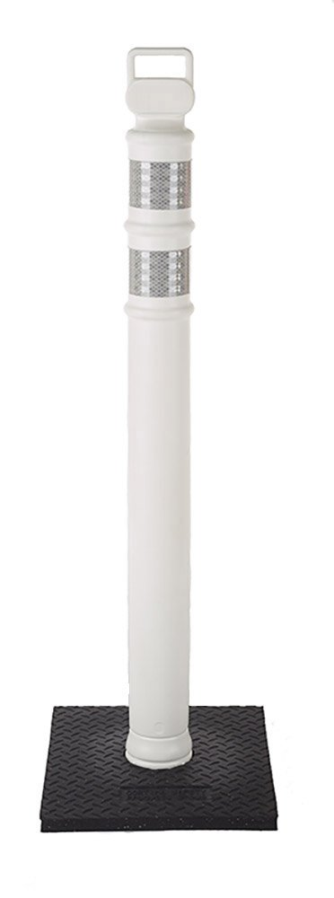 Cortina 03-747WRBC Polyethylene Portable Delineator Post with 10 lbs Recycled Rubber Base, 45'' Height, White