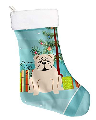 Bulldog Christmas Stocking - Caroline's Treasures Christmas English Bulldog White Stocking, Large, Multicolor