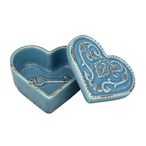 Stonebriar American Adventure Worn Turquoise Heart Shaped Trinket Box,