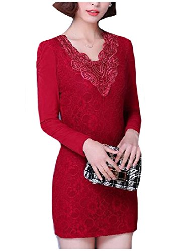 Coolred-femmes Perspective De Dentelle Mince Manches Longues Moulante Mini-robe As1