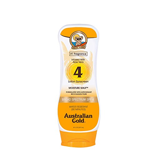 Australian Gold Sunscreen Lotion, Moisture Max, Infused with Aloe Vera, Broad Spectrum, Water Resistant, Cruelty Free, Paraben Free, PABA Free, Oil Free, Dye Free, Alcohol Free, SPF 4, 8 Ounce