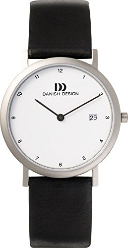 Danish Design IQ12Q881 Titanium Case White Dial Leather Band Men's Watch