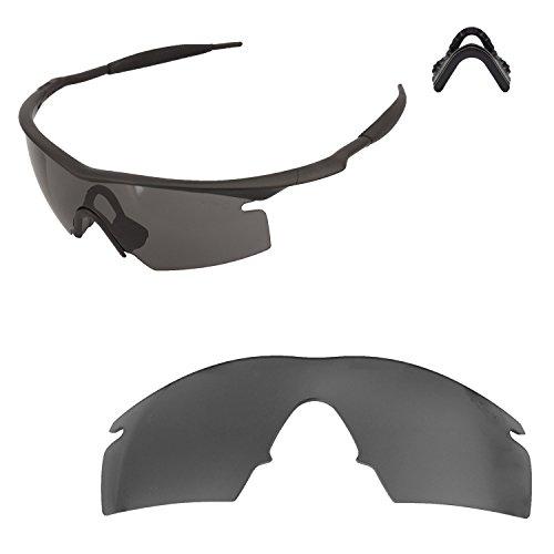 Walleva Replacement Lenses for Oakley M Frame Strike Sunglasses - Multiple Options Available (Black - Mr. Shield Polarized+ - Oakley M Strike Lenses Frame