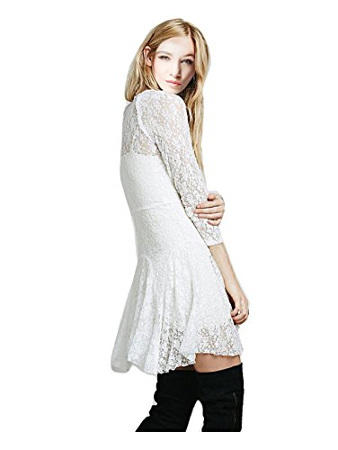 4 Dress Mini Women's White Party Sleeve 3 CA Fashion Flare V Balletic Neck B1qIIP