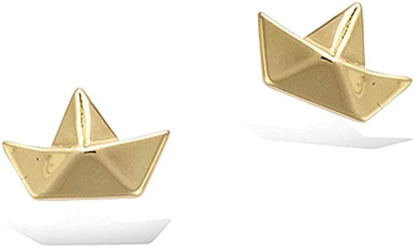 Tata Gisele C Boucles D Oreilles En Plaque Or Bateau Style Origami Pliage Sachet Cadeau Velours Offert Amazon Fr Bijoux