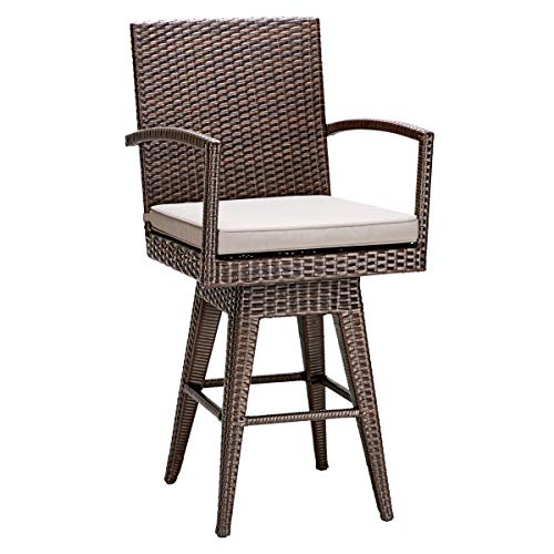 Tangkula Outdoor Bar Stool Patio Garden Pool Backyard Swivel Cushioned Stool Furniture with Armrest Wicker Rattan Barstool (1, - Swivel Cushioned Stool