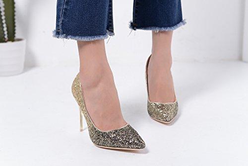 Mila Lady Bonnie09 Las Mujeres De Moda Embellecieron Sparkles Contraste Color Bombas De Punta Estrecha High Heel Stilettos Sexy Slip On Zapatos De Vestir, Bronce