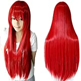 Wigs 80cm Long Straight Anime Fashion Women's Cosplay Wig Party Wig (80cm, Red)