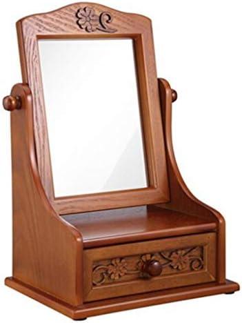 ZMHZJ 引き出しホームデコレーションとヴィンテージ木製ドレッサー化粧鏡ソリッドウッドバニティミラーバニティケース