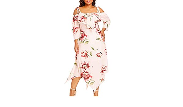 1ffaafdb4034 GLVSZ Fashion Women Off Shoulder Plus Size Lace Up Maxi Flowing Floral Print  Dress at Amazon Women s Clothing store