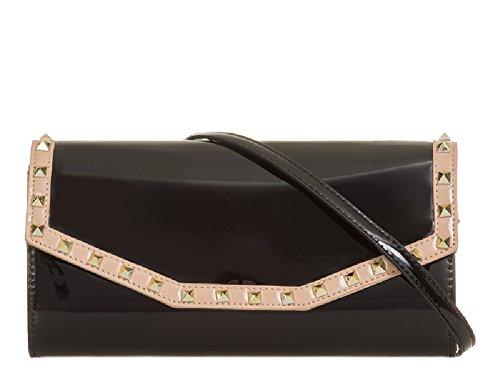 Bridal Ladies Women's Purse Black Bag Studded Patent Faux Envelope KL875 Handbag Clutch Wallet qSB6R