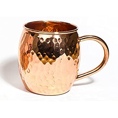 Inspired Basics Solid Copper Moscow Mule No Tin or Nickel Lining Mug Hammered Type Copper Mug 16 Oz Capacity