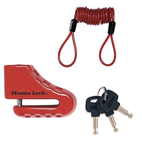 Master Lock Bloccadisco per Moto o Bloccadisco per Scooter, 80 mm con Serratura a Chiave e Perno con Diametro 5.5 MASTERLOCK 8303EURDPS bloccadisco moto; bloccadisco scooter; antifurto moto ; antifurto scooter; serratura a chiave ; lucchetto moto^Garanzia