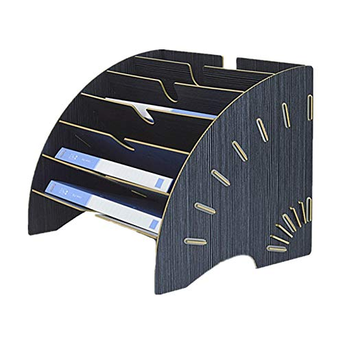 PENGKE Desktop File Folder Organizer, Fan-Shaped File Rack, Mail Magazine Paper Holder, 6 Slot Desk Organizer Space Saving, Black