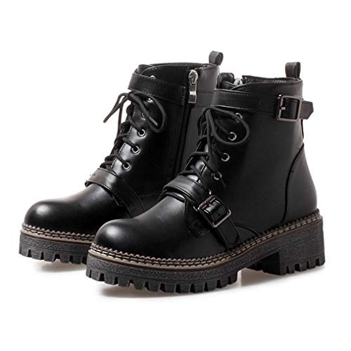 GIY Women's Platform Martin Boots Round Toe Side Zip Ankle Boots Ladies Leather Combat Booties Winter Motorcycle Boots Black