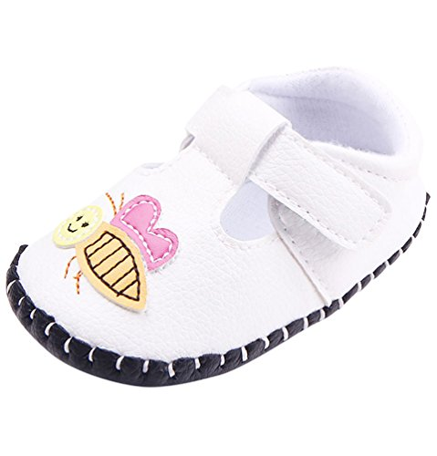CHENGYANG Baby Mädchen Lauflernschuhe mit Biene und Blumen - Kleinkind Schuhe Weiß