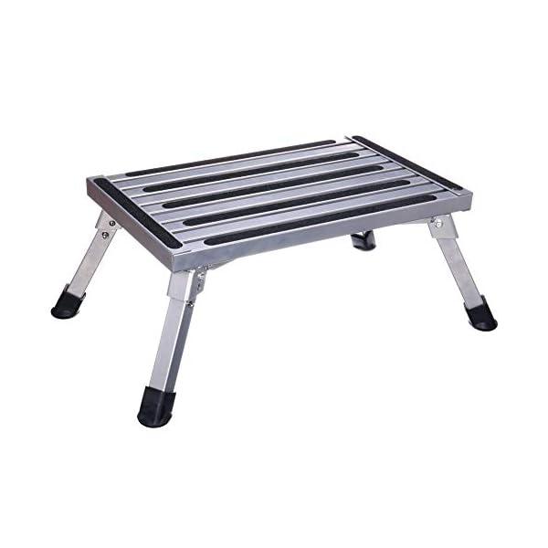 41iG2F%2BbbCL Arbeitsbühne, Stufen der Aluminium-Klappplattform, tragbare RV-Aufwärtsbankleiter, rutschfestes Design, tragbare Leiter…