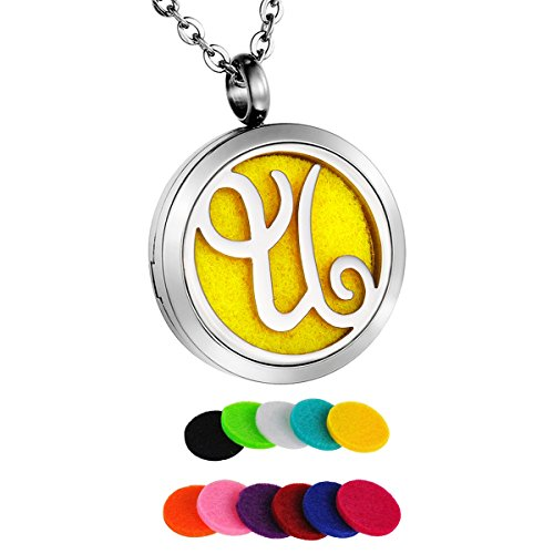 HooAMI Aromatherapy Essential Oil Diffuser Necklace Locket Pendant,Alphabet Letter U Initial Necklace -