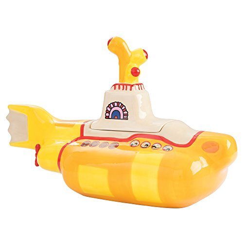 Vandor 73141 The The Beatles Yellow Submarine Shaped Sculpted Ceramic Cookie Jar Canister, 12 x 9.75 x 7 Inches ()
