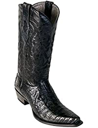 Men's Sinp Toe Black Genuine Leather Caiman Belly Skin Western Boots - Exotic Skin Boots