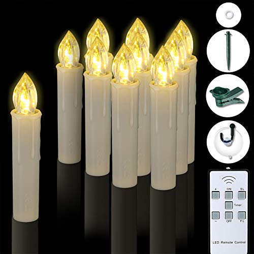 PChero Windows Candles, 10pcs Large Size Waterproof Dimmable Warm White LED Flameless Taper Ivory Timer Candles with Remote, Last up to 200Hours, Perfect for Home Indoor Outdoor Holiday Decorations