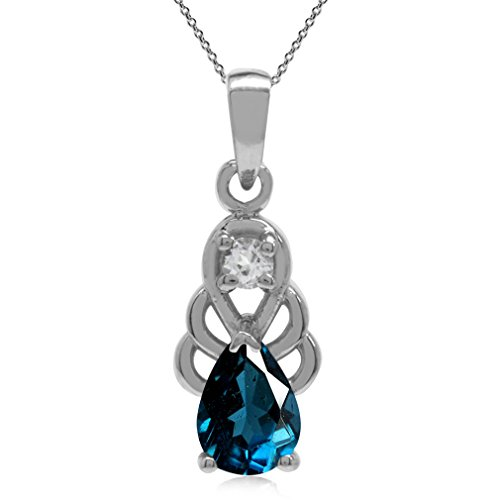 Genuine London Blue Topaz 925 Sterling Silver Filigree Drop Pendant w/18