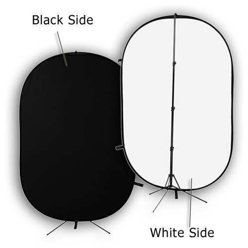 Fotodiox 5x7 (foot) Collapsible Black + White 2-in-1 Background, Backdrop Kit with Stand Support by Fotodiox