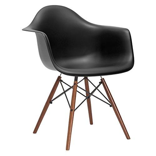 Arm Chair Dining Chair (Poly and Bark Vortex Arm Chair Walnut Leg, Black)