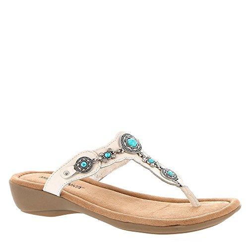 Sandales Minnetonka White Thong Compensées Femmes Ratan URzRnAtg