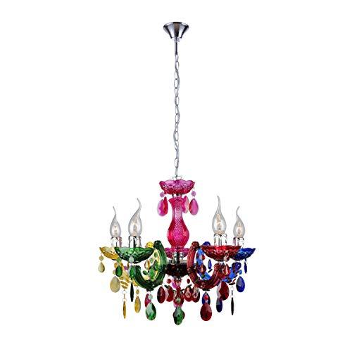 Crystal Like - mirrea Mini Modern Gypsy Chandelier, 5 Lights, Crystal-Like Acrylic Multicolor