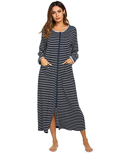 Ekouaer Women Long Robes Zipper Front Full Length House Coat with Pockets Striped Loungewear (A_Printing4_7155, Medium)