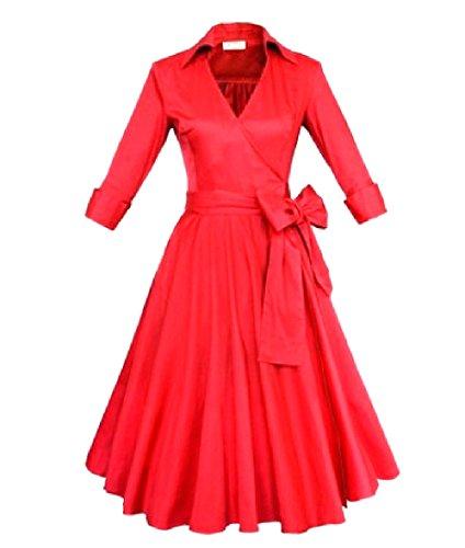 Confortables Femmes Boucler La Boucle Bowknot V Cou Hepburn Robes De Couleur Unie Rouge