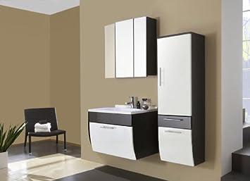 XXS® Möbel Set 3B Salona komplett Badezimmer anthrazit Front weiß MDF  hochglanz 70 cm Waschplatz Mineralgussbecken