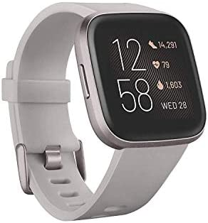 Fitbit Versa 2 Health and Fitness Smartwatch with Heart Rate, Music, Alexa Built-In, Sleep and Swim Tracking, Stone/Mist Grey, One Size (S and L Bands Included) 13