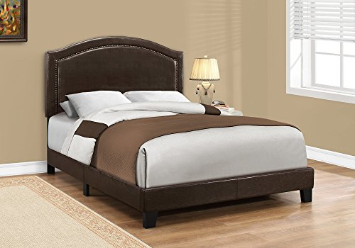 Monarch Specialties I I 5938F Bed - Full Size/Brown Leather-Look with Brass Trim, Brass Full Size Bed
