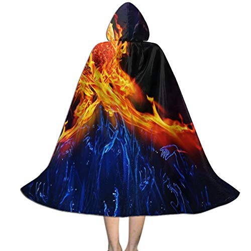 Halloween Costumes Fire and Ice Hooded Witch Wizard Cloak for Kids S