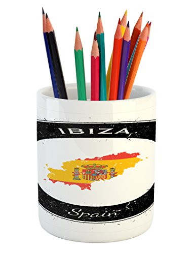 Lunarable Ibiza Pencil Pen Holder, Grunge Monochrome Round Frame with Compass Stars and Spain Flag Motif, Printed Ceramic Pencil Pen Holder for Desk Office Accessory, Vermilion Yellow and Black by Lunarable