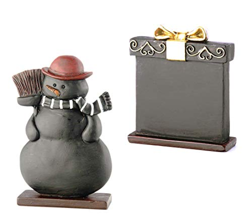 Boston International Holiday Place Card Holders with Chalkboard Surface - Snowman and Present