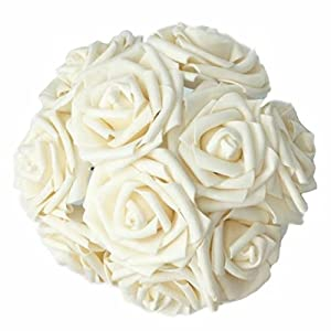 Celine lin Artificial Flowers 10Pcs Real Touch Artificial Roses for Bouquets Centerpieces Wedding Party Baby Shower Decorations DIY 2