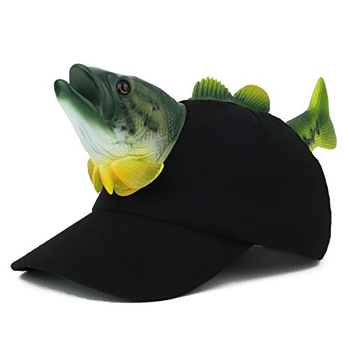 Trendy Apparel Shop 3D Bass Fish Front and Back Funny Animal Costume Baseball Cap - -