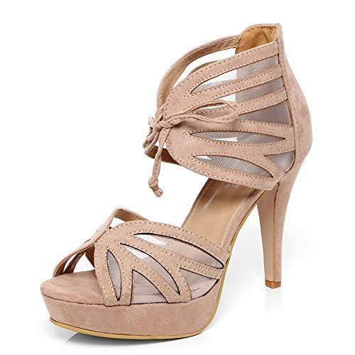 Chaussures à Beige Gladiateur Talons avec Inserts Hauts Maille Suedette Sandales en B1nqXxwnE
