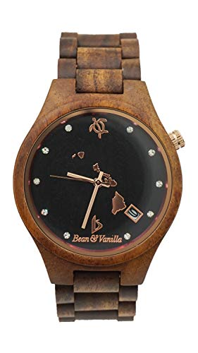 Wooden Wrist Watch for Men - Hawaiian KOA Wood/Swarovski Crystals/Crystal Sapphire Dial Window/Analog Citizen Movement/Wood Watch Band - Includes Logo Stamped Box