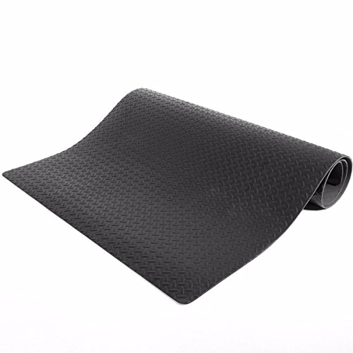 XtremepowerUS Premium Heavy Duty Equipment Mat Fitness Treadmill Protective Bicycle Bike Exercise Mat Non-Slip Workout Mats, 7.8' x 3.8' (Black)