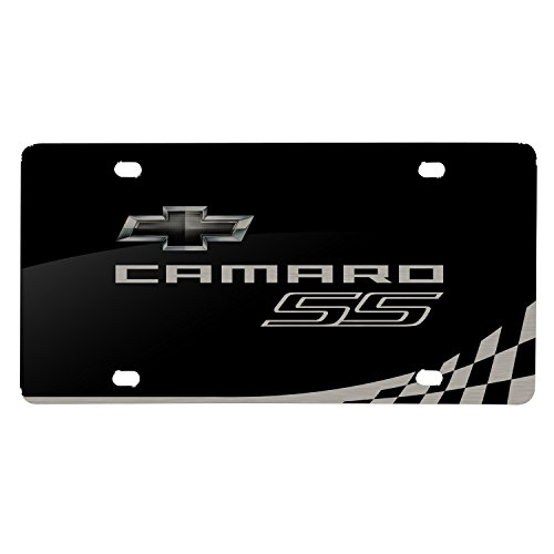 Racing Flags License Plate - iPick Image Matt-Look Laser Etched Racing Checker Flag Black Acrylic License Plate - Camaro SS