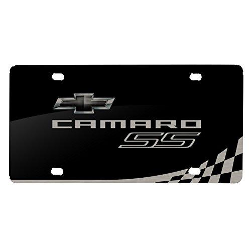iPick Image Matt-Look Laser Etched Racing Checker Flag Black Acrylic License Plate - Camaro SS