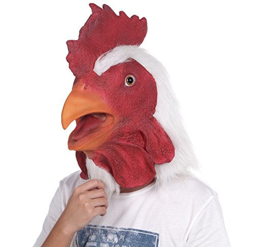Chicken Head Costume (LUBBER Rooster Latex Animal Halloween Head Mask For Halloween Costume)