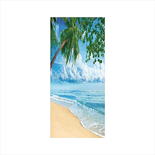 Decorative Window Film,No Glue Frosted Privacy Film,Stained Glass Door Film,Sandy Tropical Beach in Summertime Sunny Day Seacoast Seascape Horizon Decorative,for Home & Office,23.6In. by 47.2In