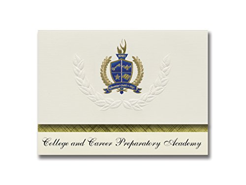 Signature Announcements College and Career Preparatory Academy (Bethlehem, GA) Graduation Announcements, Presidential Elite Pack 25 with Gold & Blue Metallic Foil seal]()