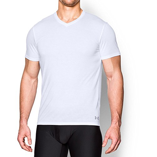- Under Armour Men's Core V-Neck Undershirt, White (100)/Steel, Medium