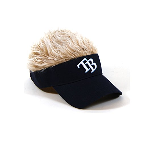MLB Tampa Bay Rays Flair Hair Adjustable Visor, Navy (Hats With Hair Attached)